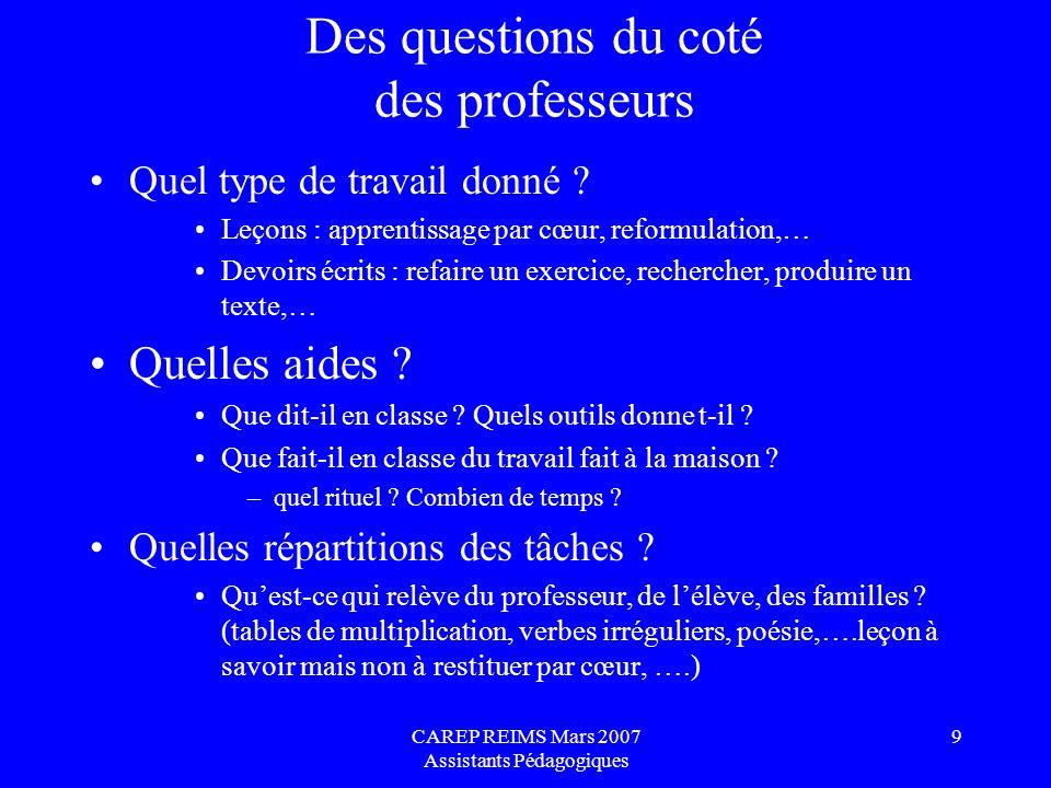 CAREP REIMS Mars 2007 Assistants Pédagogiques 10 Des questions du côté des familles Peut-elle aider .