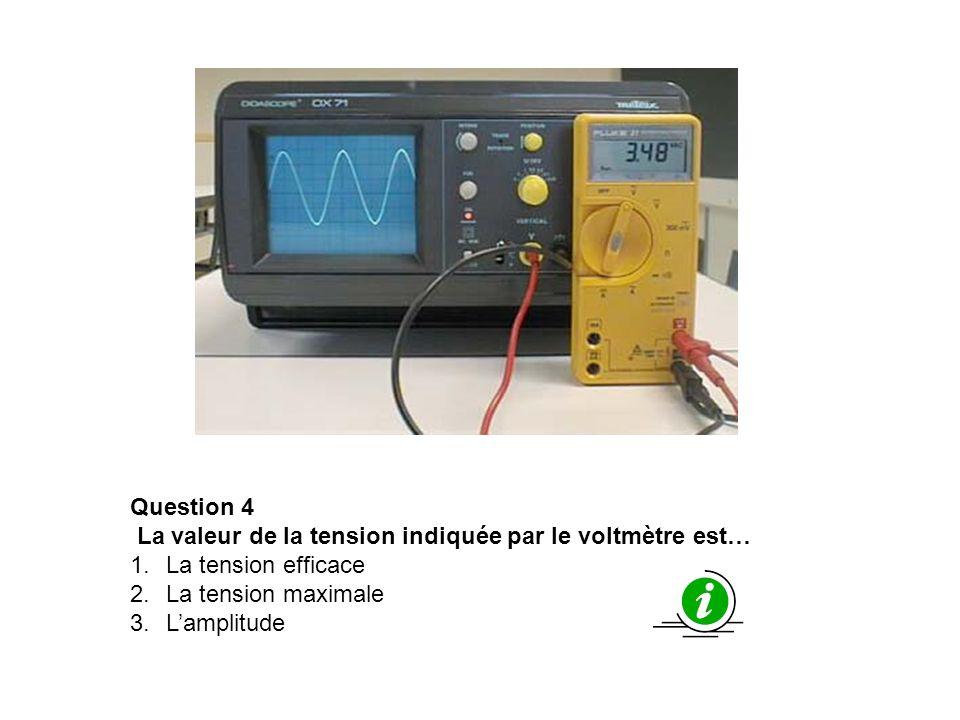 Question 4 La valeur de la tension indiquée par le voltmètre est… 1.La tension efficace 2.La tension maximale 3.Lamplitude