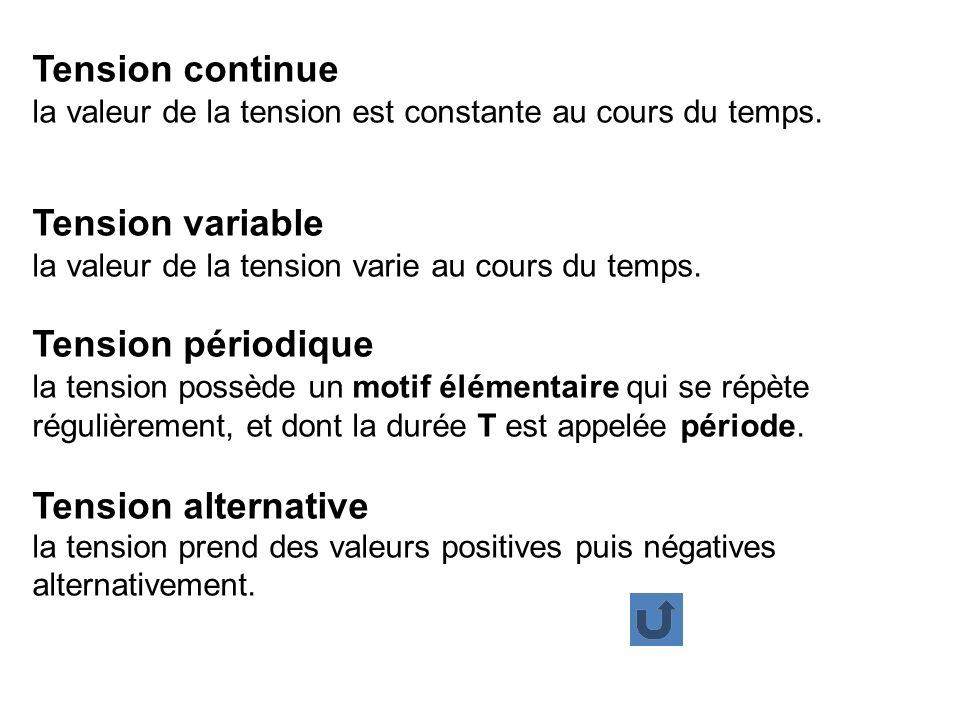 Tension continue la valeur de la tension est constante au cours du temps. Tension variable la valeur de la tension varie au cours du temps. Tension pé