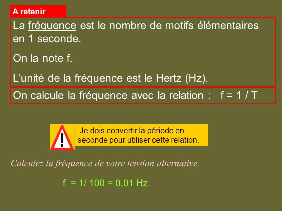 Calculez la fréquence de votre tension alternative. Je dois convertir la période en seconde pour utiliser cette relation. On calcule la fréquence avec