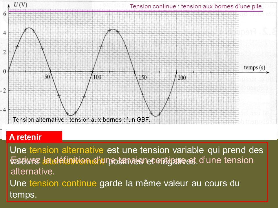. Tension continue : tension aux bornes dune pile. Tension alternative : tension aux bornes dun GBF. Une tension alternative est une tension variable