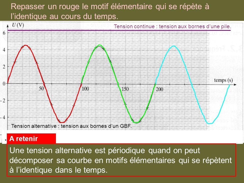 Repasser un rouge le motif élémentaire qui se répète à lidentique au cours du temps.. Tension continue : tension aux bornes dune pile. Tension alterna
