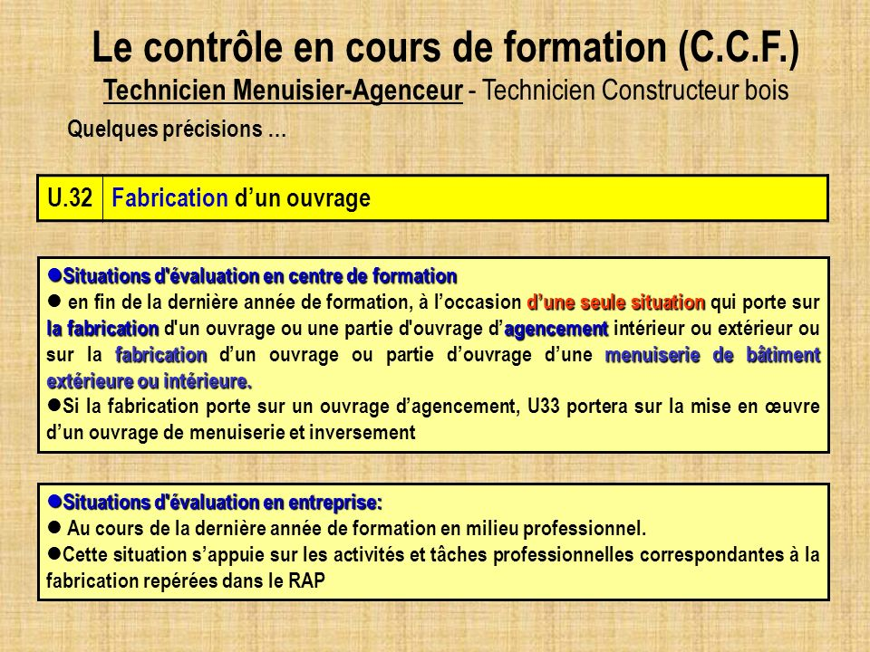 U.32Fabrication dun ouvrage Situations d'évaluation en centre de formation Situations d'évaluation en centre de formation dune seule situation la fabr