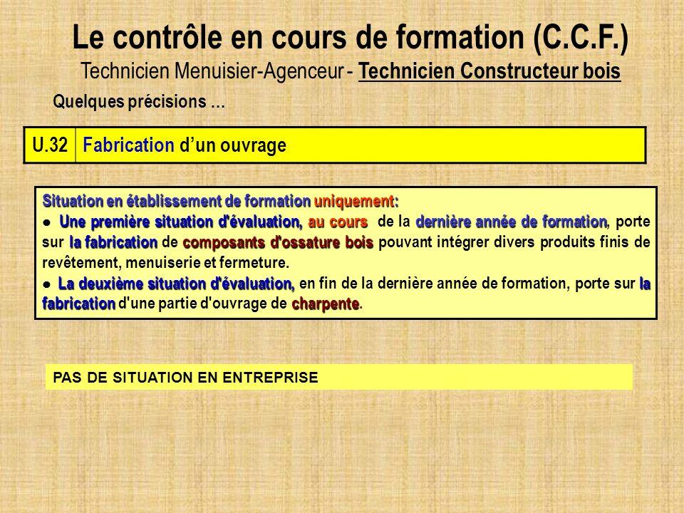 Le contrôle en cours de formation (C.C.F.) Technicien Menuisier-Agenceur - Technicien Constructeur bois U.32Fabrication dun ouvrage Situation en établ
