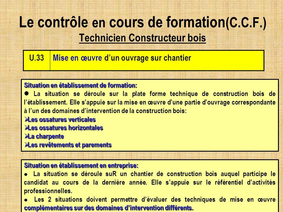 Le contrôle en cours de formation (C.C.F.) Technicien Constructeur bois U.33Mise en œuvre dun ouvrage sur chantier Situation en établissement de forma
