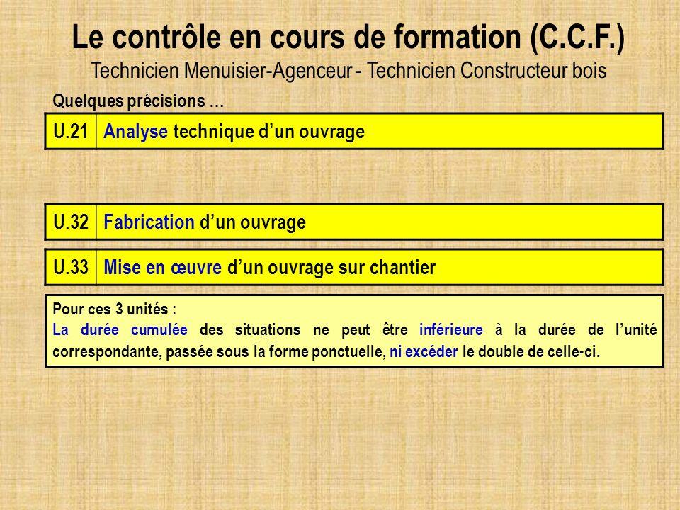 Le contrôle en cours de formation (C.C.F.) Technicien Menuisier-Agenceur - Technicien Constructeur bois U.32Fabrication dun ouvrage Pour ces 3 unités