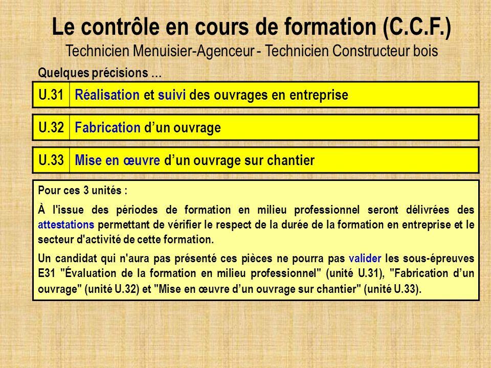 Le contrôle en cours de formation (C.C.F.) Technicien Menuisier-Agenceur - Technicien Constructeur bois U.32Fabrication dun ouvrage U.33Mise en œuvre