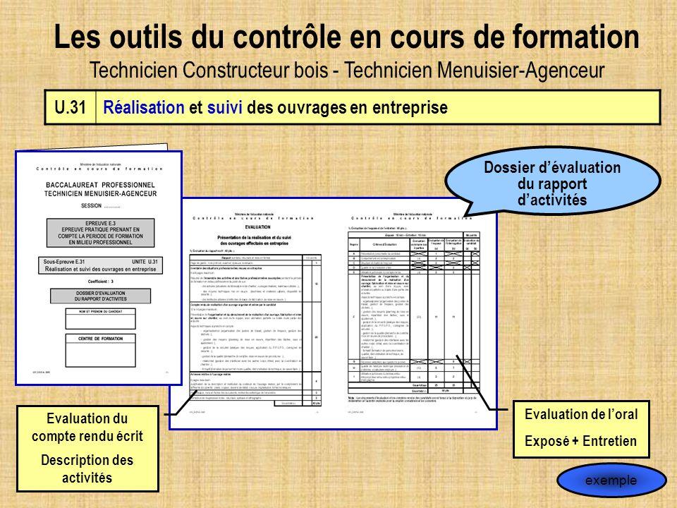 Les outils du contrôle en cours de formation Technicien Constructeur bois - Technicien Menuisier-Agenceur U.31Réalisation et suivi des ouvrages en ent
