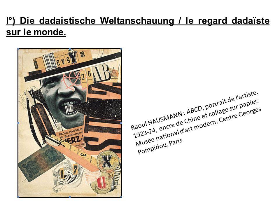 Lordre des éléments : Le billet de banque : il sagit dun billet de banque tchèque qui fait allusion à la tournée de conférences Dada accomplie par Schwitters et Hausmann en 1921, à Prague.