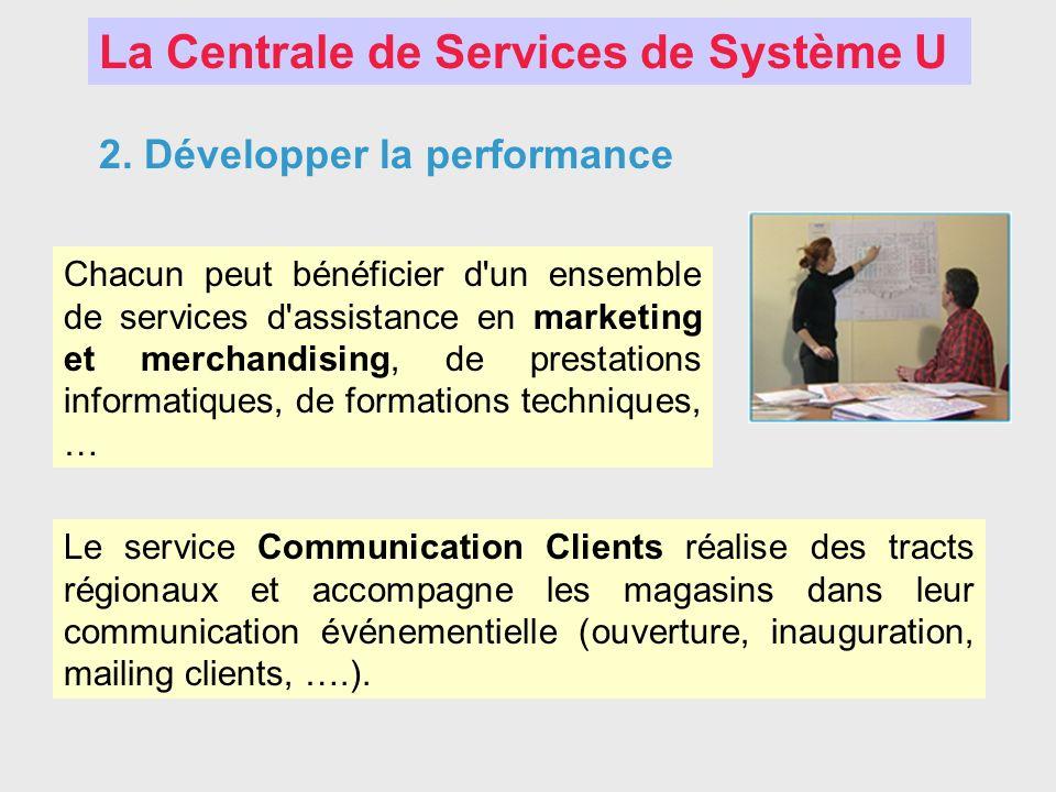 La Centrale de Services de Système U 2. Développer la performance Chacun peut bénéficier d'un ensemble de services d'assistance en marketing et mercha