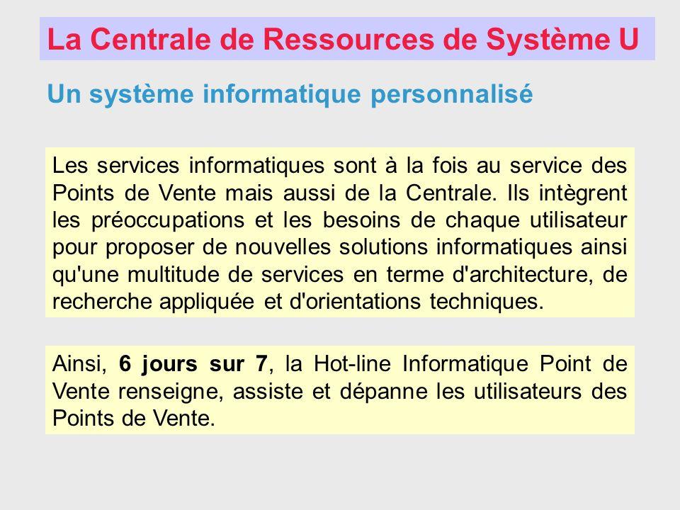 La Centrale de Ressources de Système U Un système informatique personnalisé Les services informatiques sont à la fois au service des Points de Vente m