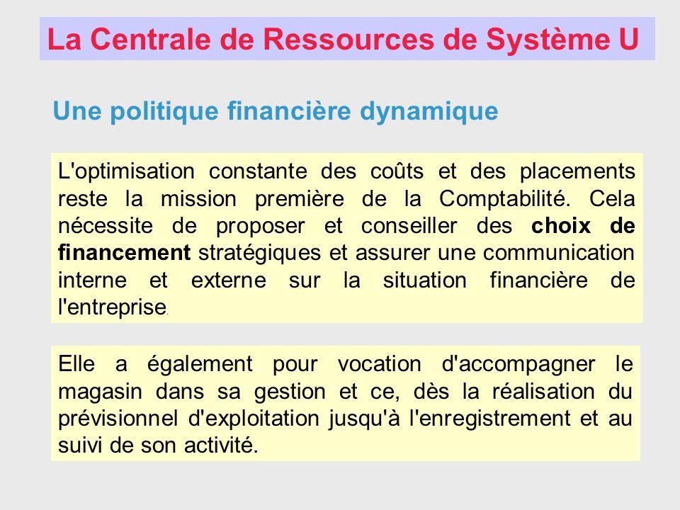 La Centrale de Ressources de Système U Une politique financière dynamique L'optimisation constante des coûts et des placements reste la mission premiè