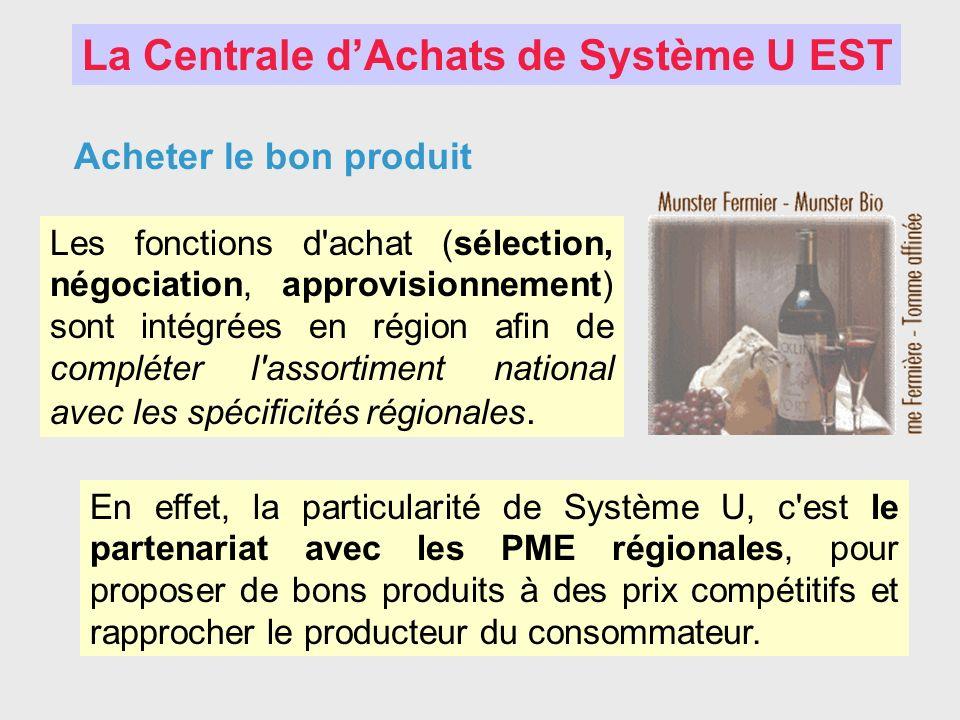 Acheter le bon produit Les fonctions d'achat (sélection, négociation, approvisionnement) sont intégrées en région afin de compléter l'assortiment nati