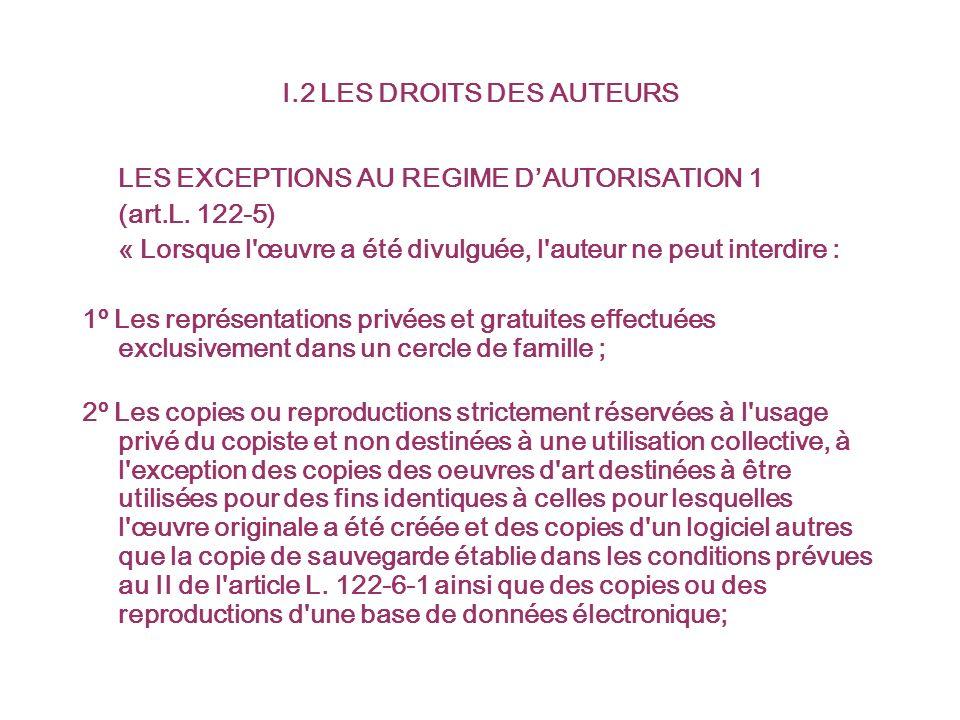 I.2 LES DROITS DES AUTEURS LES EXCEPTIONS AU REGIME DAUTORISATION 1 (art.L.