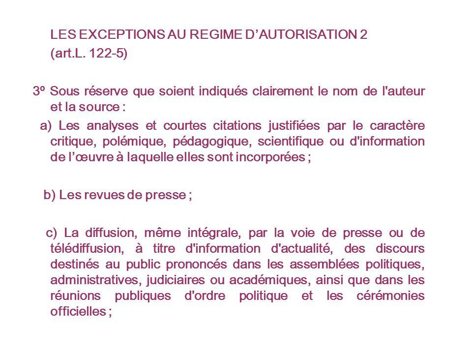 LES EXCEPTIONS AU REGIME DAUTORISATION 2 (art.L.