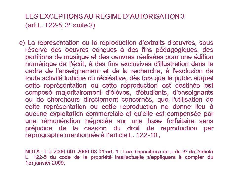 LES EXCEPTIONS AU REGIME DAUTORISATION 3 (art.L.