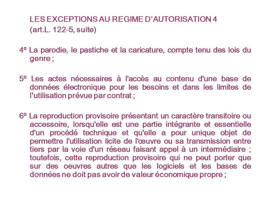 LES EXCEPTIONS AU REGIME DAUTORISATION 4 (art.L.