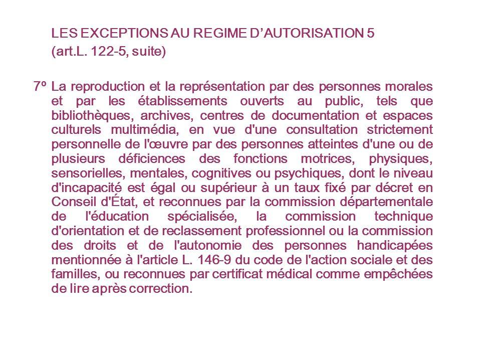 LES EXCEPTIONS AU REGIME DAUTORISATION 5 (art.L.
