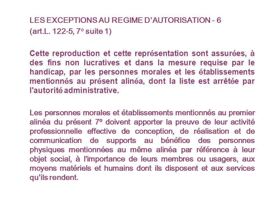 LES EXCEPTIONS AU REGIME DAUTORISATION - 6 (art.L.
