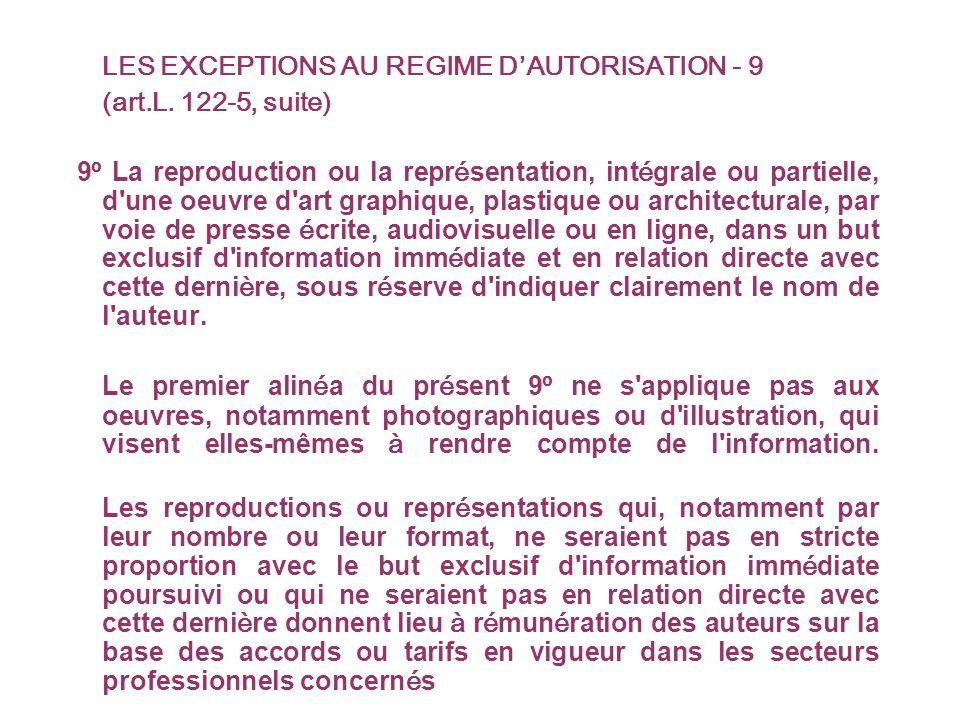 LES EXCEPTIONS AU REGIME DAUTORISATION - 9 (art.L.