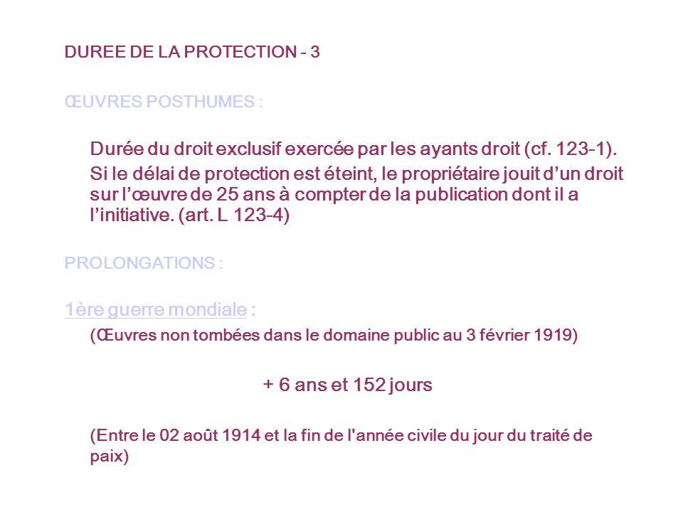 DUREE DE LA PROTECTION - 3 ŒUVRES POSTHUMES : Durée du droit exclusif exercée par les ayants droit (cf.