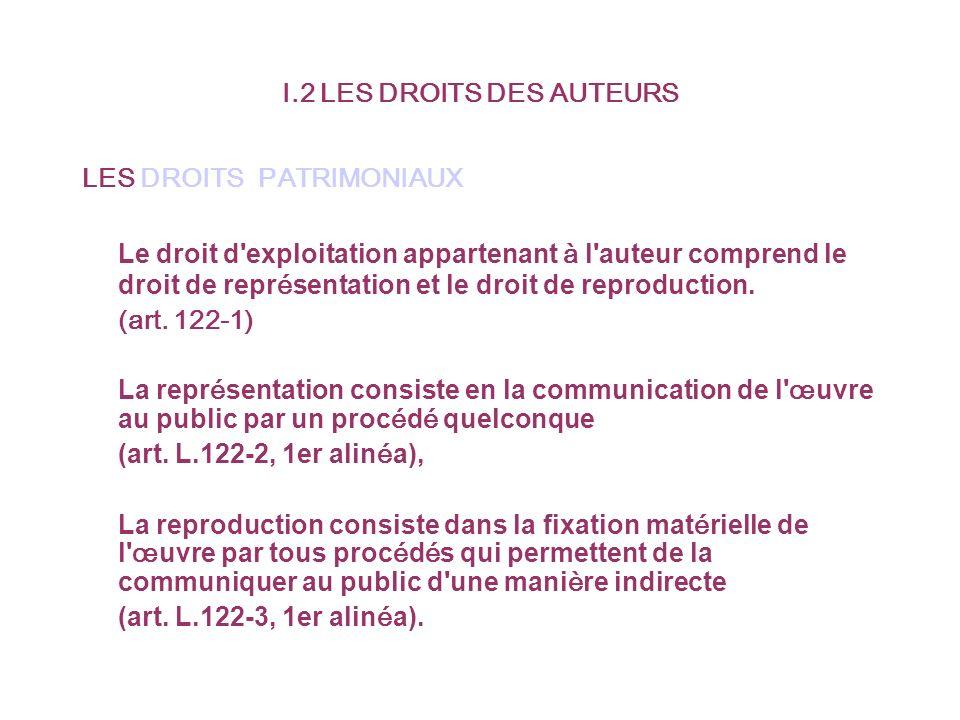 I.2 LES DROITS DES AUTEURS LES DROITS PATRIMONIAUX Le droit d exploitation appartenant à l auteur comprend le droit de repr é sentation et le droit de reproduction.