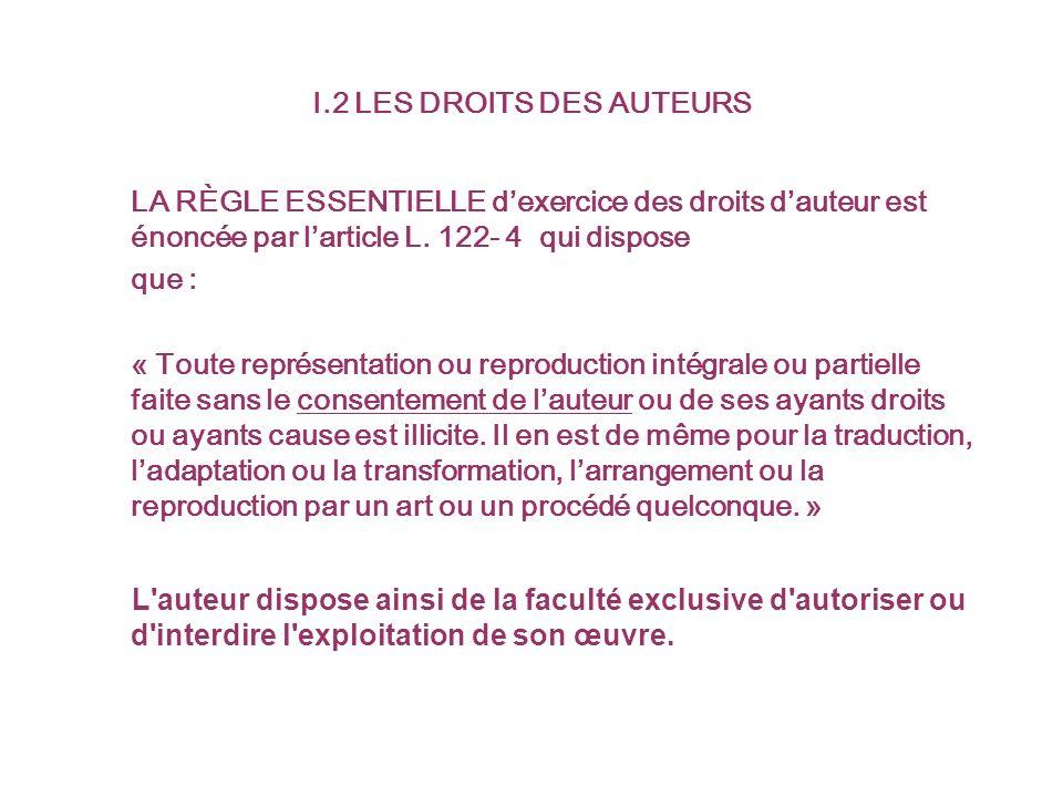 I.2 LES DROITS DES AUTEURS LA RÈGLE ESSENTIELLE dexercice des droits dauteur est énoncée par larticle L.
