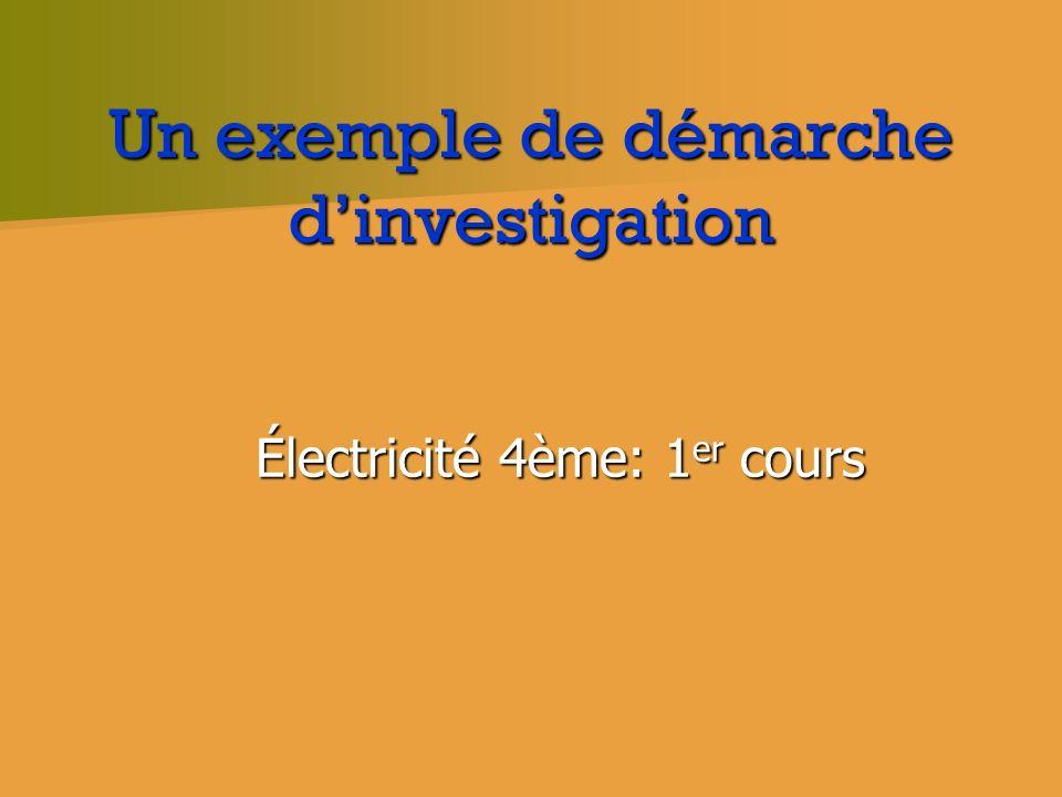 Un exemple de démarche dinvestigation Électricité 4ème: 1 er cours Électricité 4ème: 1 er cours