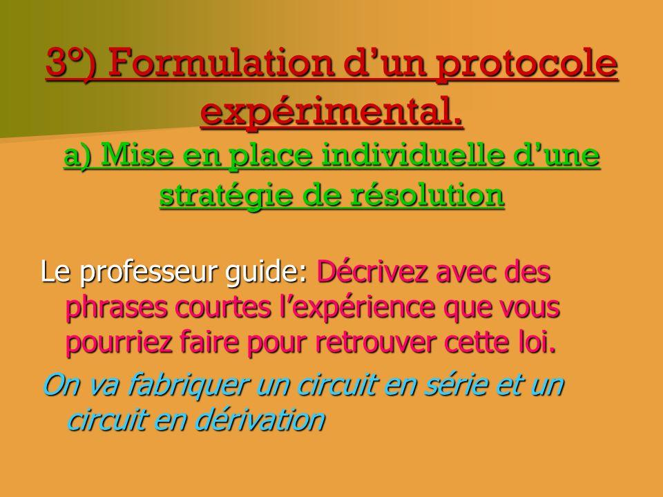 3°) Formulation dun protocole expérimental. a) Mise en place individuelle dune stratégie de résolution Le professeur guide: Décrivez avec des phrases