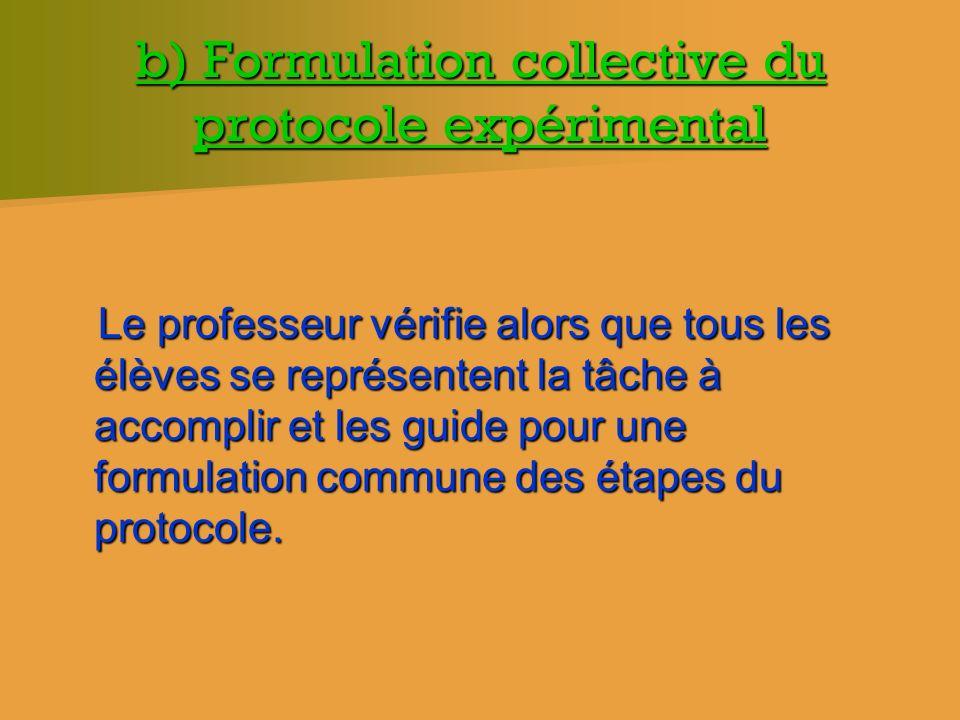 b) Formulation collective du protocole expérimental Le professeur vérifie alors que tous les élèves se représentent la tâche à accomplir et les guide