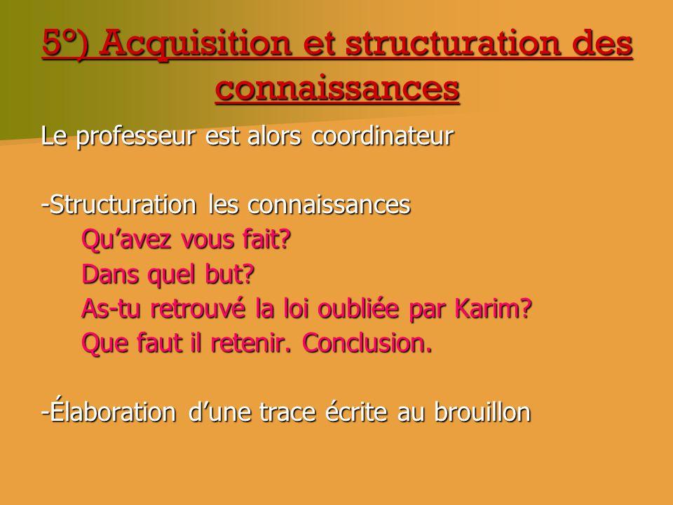 5°) Acquisition et structuration des connaissances Le professeur est alors coordinateur -Structuration les connaissances Quavez vous fait? Quavez vous