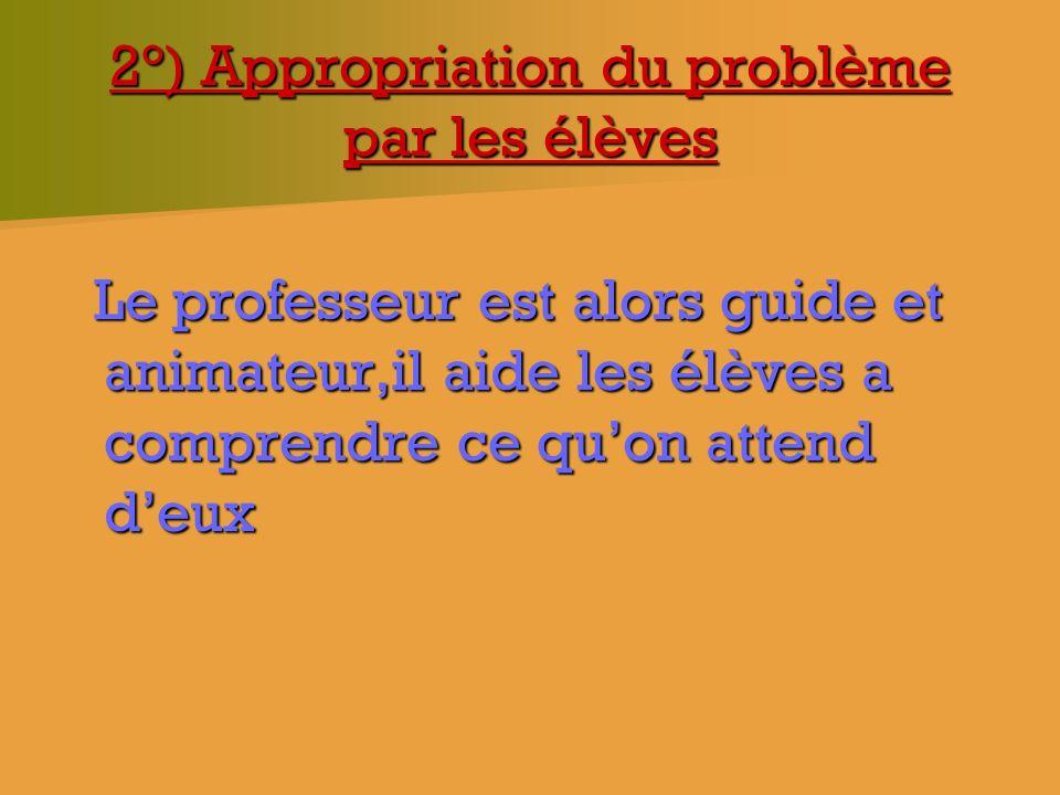 2°) Appropriation du problème par les élèves Le professeur est alors guide et animateur,il aide les élèves a comprendre ce quon attend deux Le profess