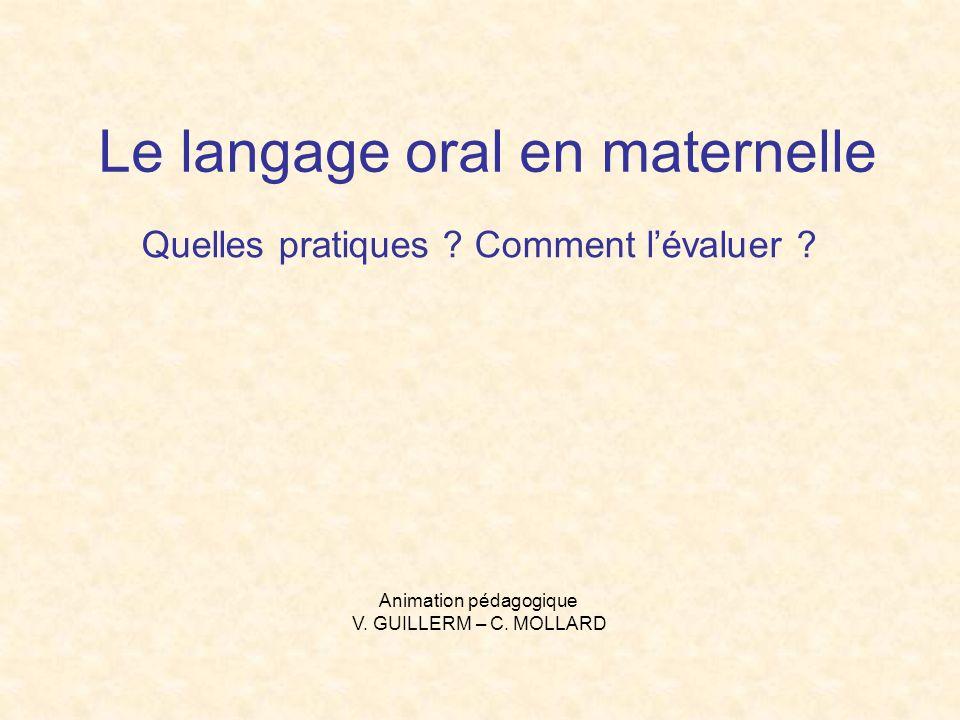 Le langage oral en maternelle Quelles pratiques ? Comment lévaluer ? Animation pédagogique V. GUILLERM – C. MOLLARD
