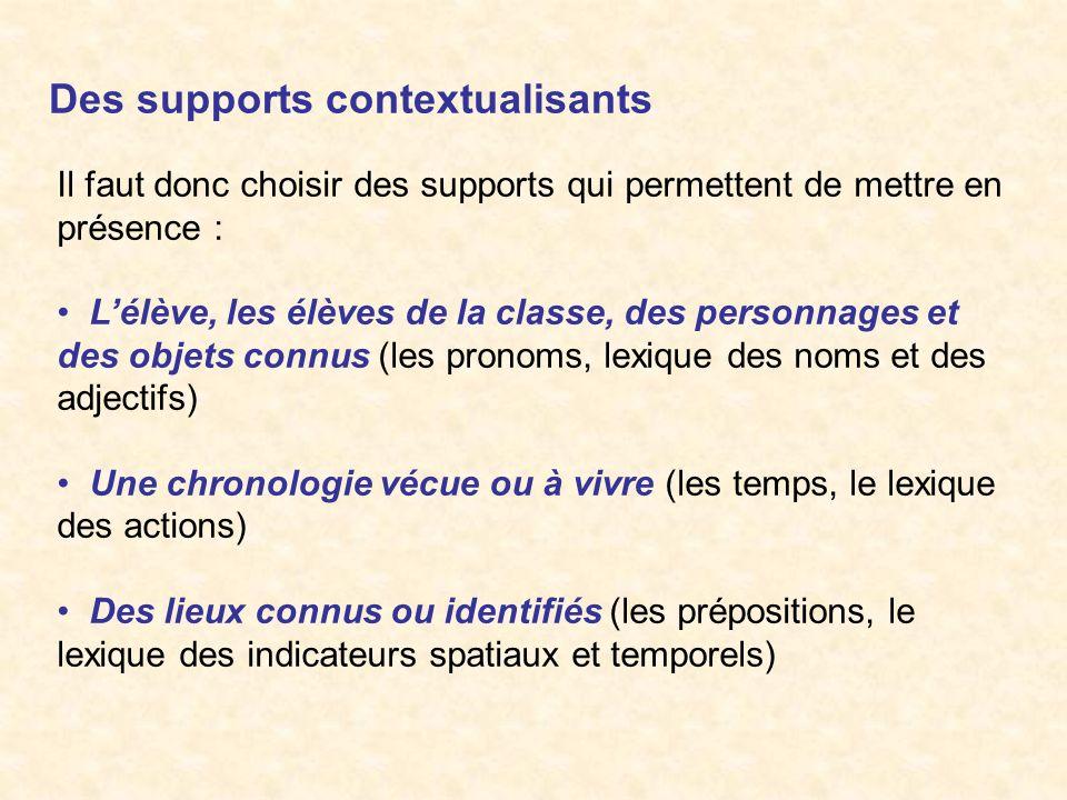 Des supports contextualisants Il faut donc choisir des supports qui permettent de mettre en présence : Lélève, les élèves de la classe, des personnage