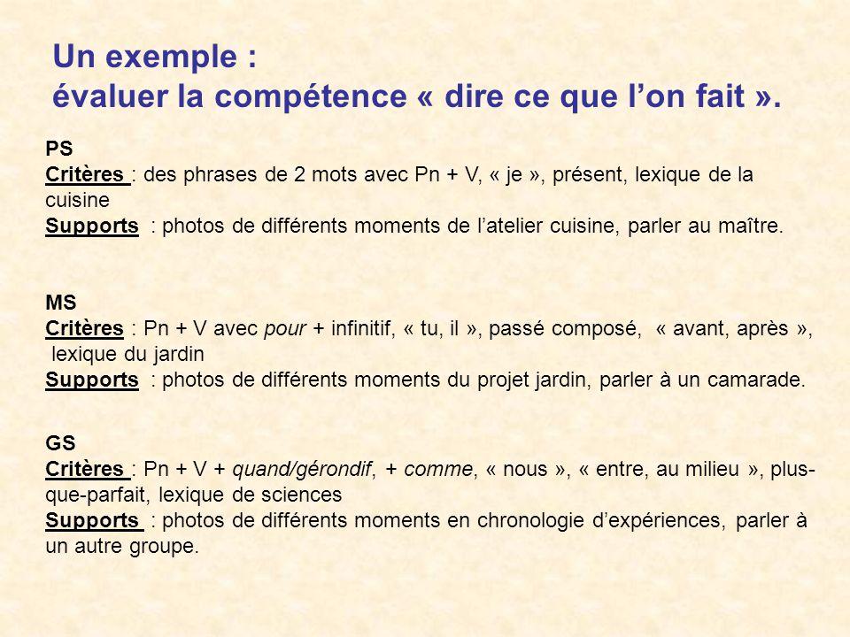 Un exemple : évaluer la compétence « dire ce que lon fait ». PS Critères : des phrases de 2 mots avec Pn + V, « je », présent, lexique de la cuisine S