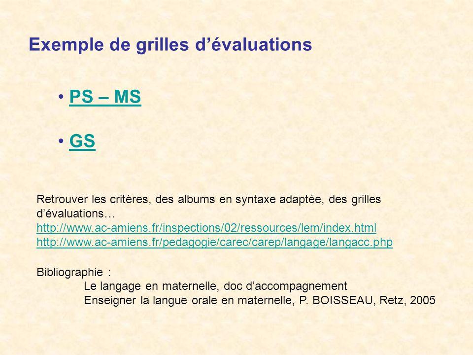 Exemple de grilles dévaluations PS – MS GS Retrouver les critères, des albums en syntaxe adaptée, des grilles dévaluations… http://www.ac-amiens.fr/in