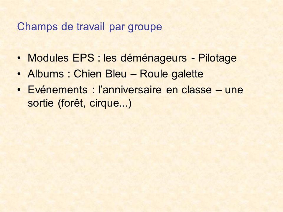 Champs de travail par groupe Modules EPS : les déménageurs - Pilotage Albums : Chien Bleu – Roule galette Evénements : lanniversaire en classe – une s