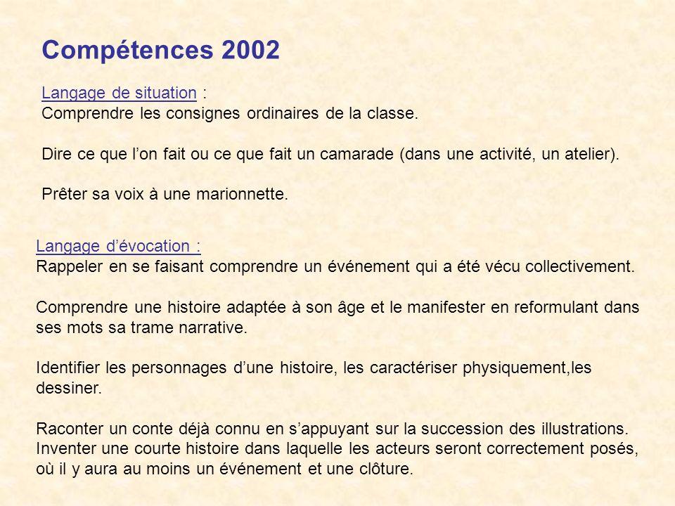 Compétences 2002 Langage de situation : Comprendre les consignes ordinaires de la classe. Dire ce que lon fait ou ce que fait un camarade (dans une ac