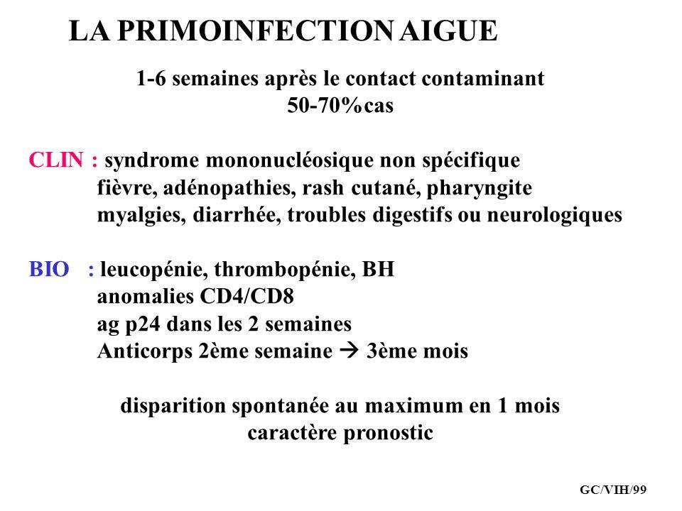 LA PRIMOINFECTION AIGUE 1-6 semaines après le contact contaminant 50-70%cas CLIN : syndrome mononucléosique non spécifique fièvre, adénopathies, rash