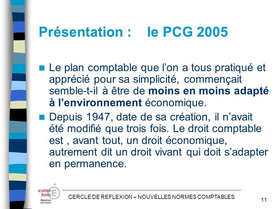 CERCLE DE REFLEXION – NOUVELLES NORMES COMPTABLES 11 Présentation : le PCG 2005 Le plan comptable que lon a tous pratiqué et apprécié pour sa simplicité, commençait semble-t-il à être de moins en moins adapté à lenvironnement économique.