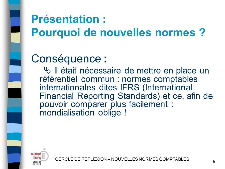 CERCLE DE REFLEXION – NOUVELLES NORMES COMPTABLES 5 Présentation : Pourquoi de nouvelles normes .