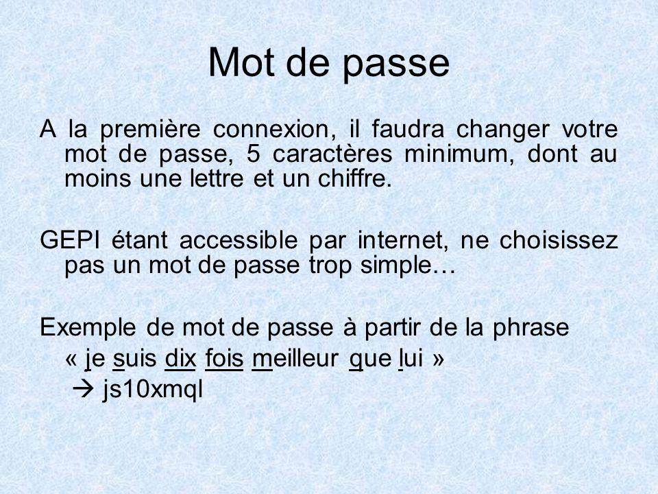 Mot de passe A la première connexion, il faudra changer votre mot de passe, 5 caractères minimum, dont au moins une lettre et un chiffre.