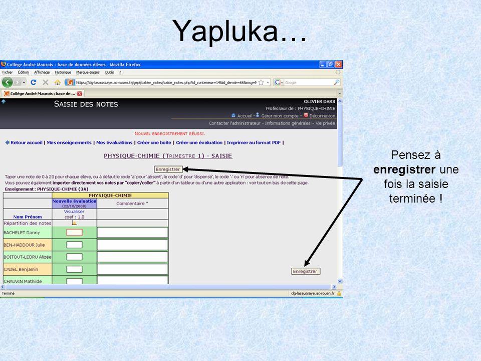 Yapluka… Pensez à enregistrer une fois la saisie terminée !