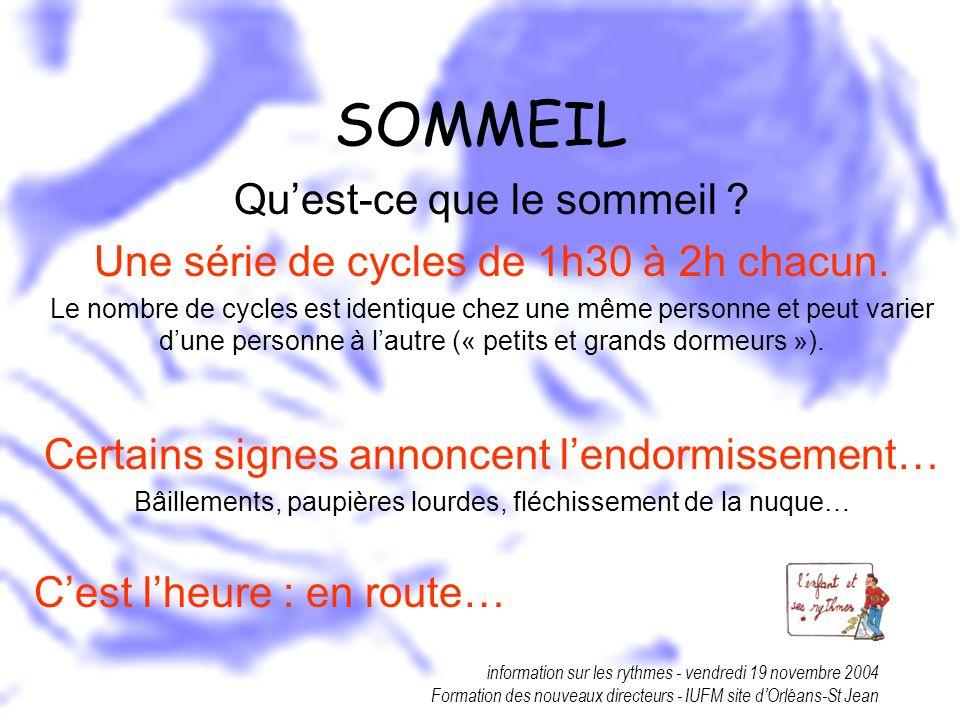 information sur les rythmes - vendredi 19 novembre 2004 Formation des nouveaux directeurs - IUFM site dOrléans-St Jean SOMMEIL Quest-ce que le sommeil