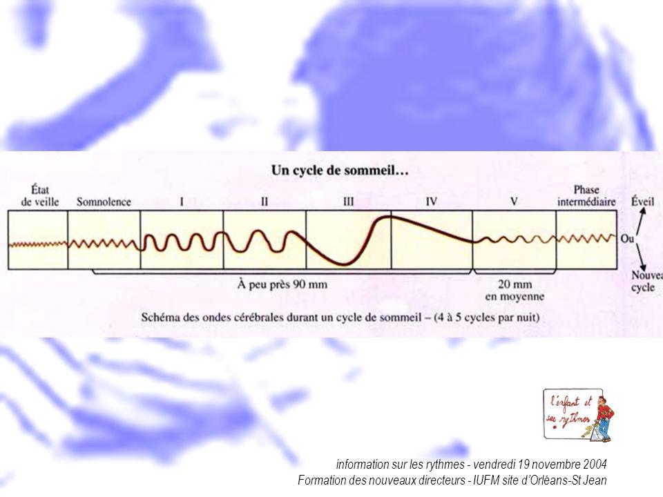 information sur les rythmes - vendredi 19 novembre 2004 Formation des nouveaux directeurs - IUFM site dOrléans-St Jean