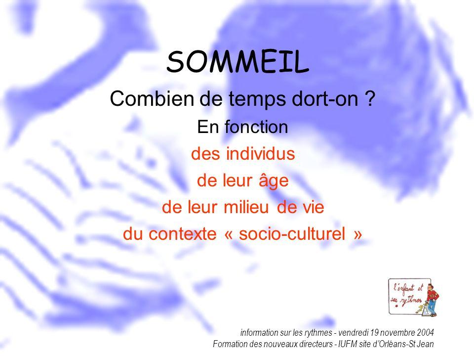 information sur les rythmes - vendredi 19 novembre 2004 Formation des nouveaux directeurs - IUFM site dOrléans-St Jean SOMMEIL Combien de temps dort-o
