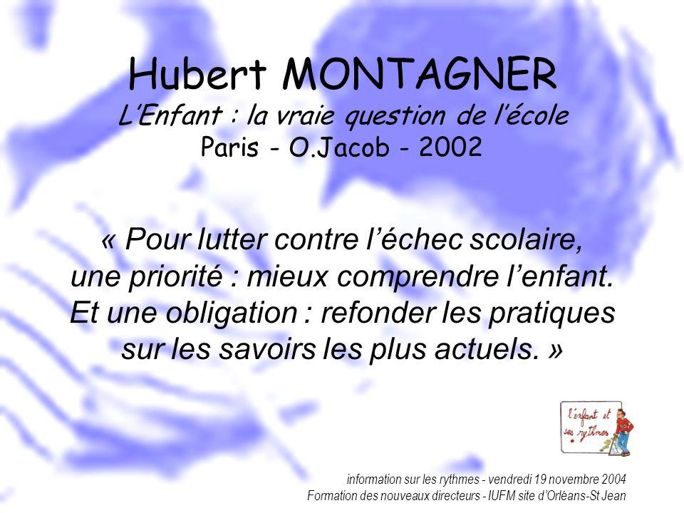 information sur les rythmes - vendredi 19 novembre 2004 Formation des nouveaux directeurs - IUFM site dOrléans-St Jean Hubert MONTAGNER LEnfant : la v