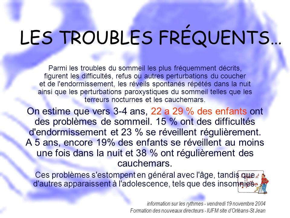 information sur les rythmes - vendredi 19 novembre 2004 Formation des nouveaux directeurs - IUFM site dOrléans-St Jean LES TROUBLES FRÉQUENTS… Parmi l