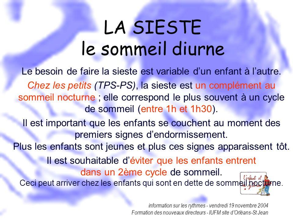 information sur les rythmes - vendredi 19 novembre 2004 Formation des nouveaux directeurs - IUFM site dOrléans-St Jean LA SIESTE le sommeil diurne Le