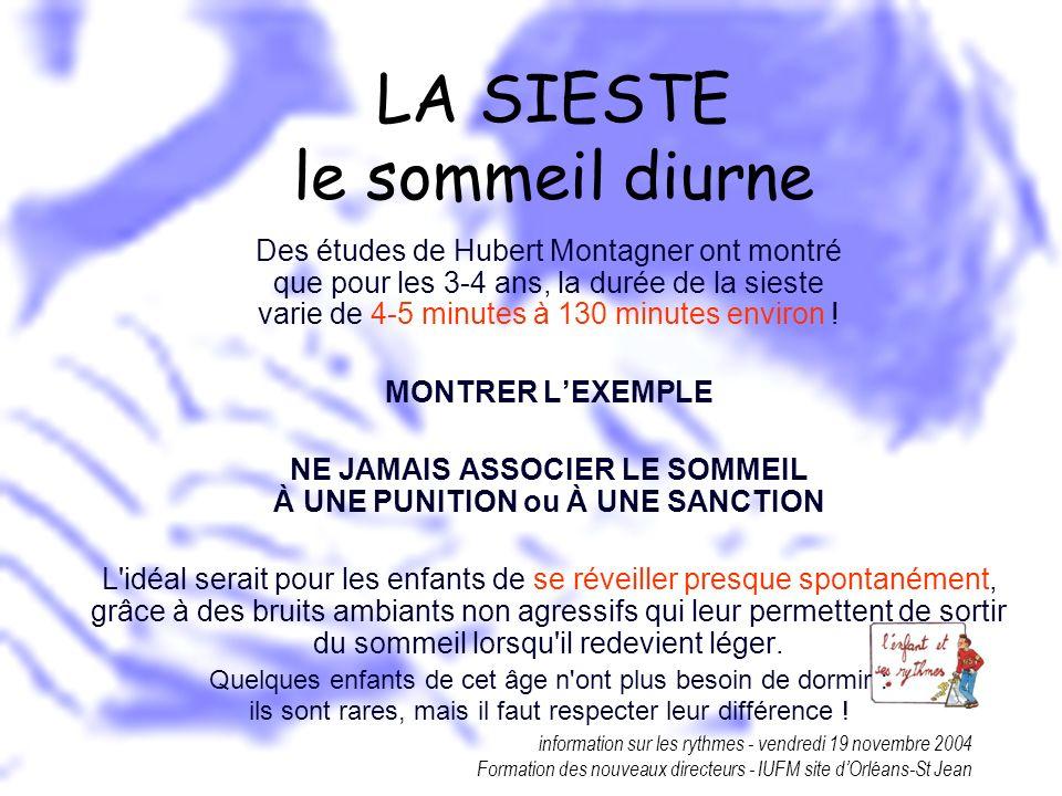 information sur les rythmes - vendredi 19 novembre 2004 Formation des nouveaux directeurs - IUFM site dOrléans-St Jean LA SIESTE le sommeil diurne Des